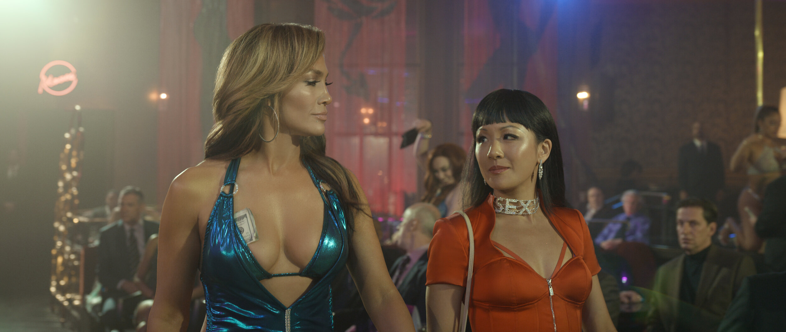 Jennifer Lopez and Constance Wu get into Hustlers mode.