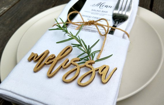 1. Name plates: Let guests know where they should sit if it's a night like that or help everyone get to know each other with a fun nametag.   //source