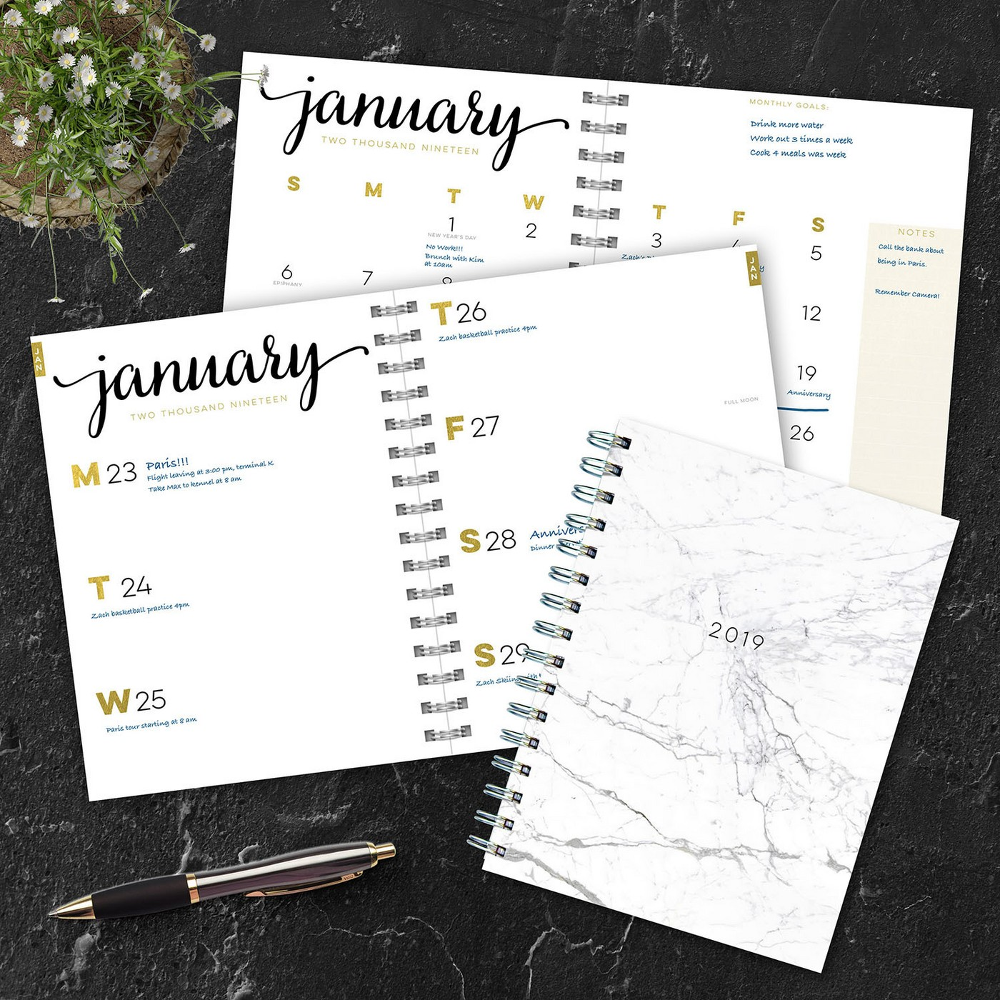For the one one the go:  a planner! This is the perfect gift for your friends who are super organized AND for the ones who aren't. Help them get their ish together or give them a beautified place to keep their ish straight. Works out both ways.   //source