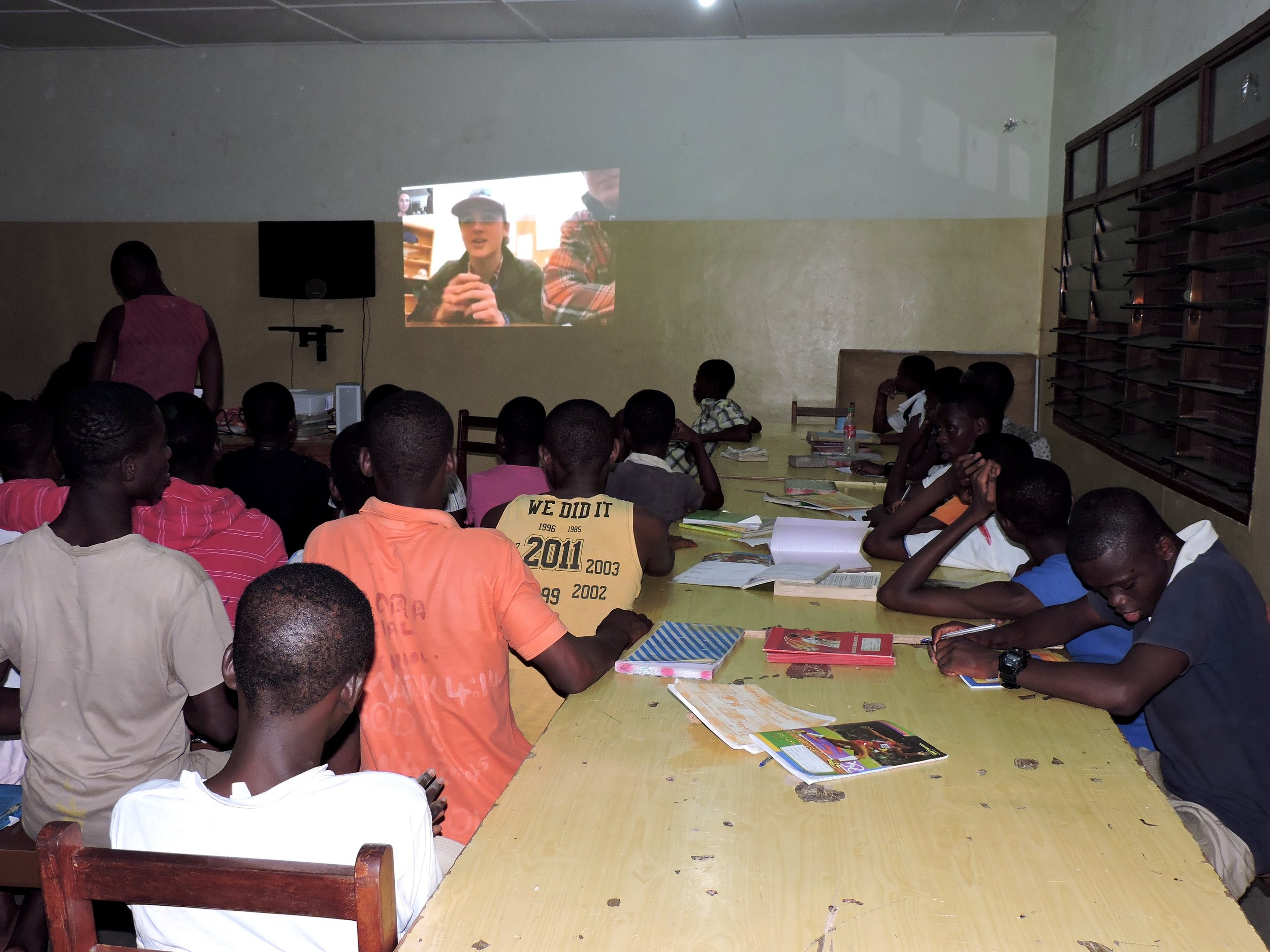 Charlie and the boys back at CVU Skyping with the students at MadamFo Ghana