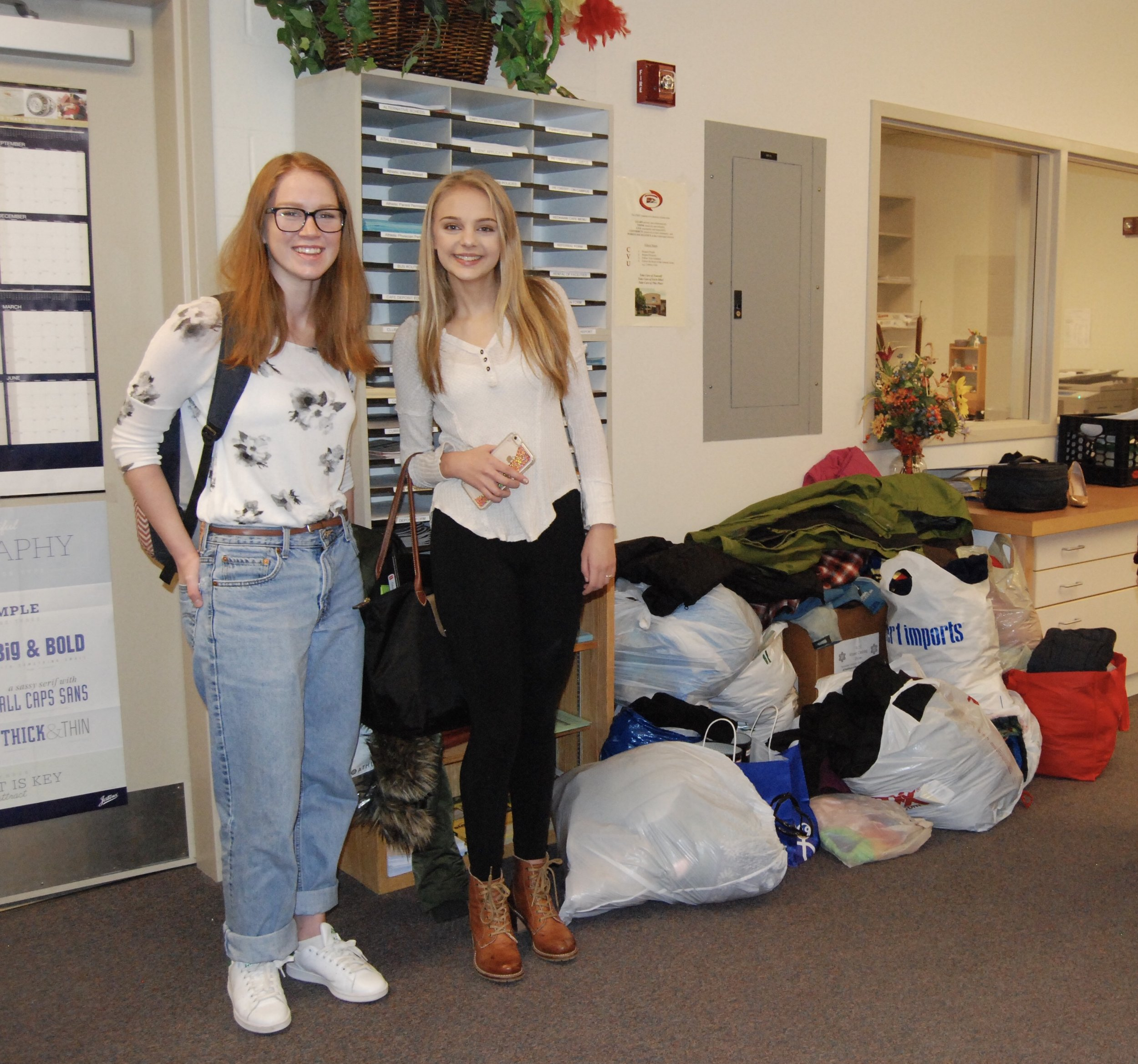 CVU R.O.C. students picking up donations 2017