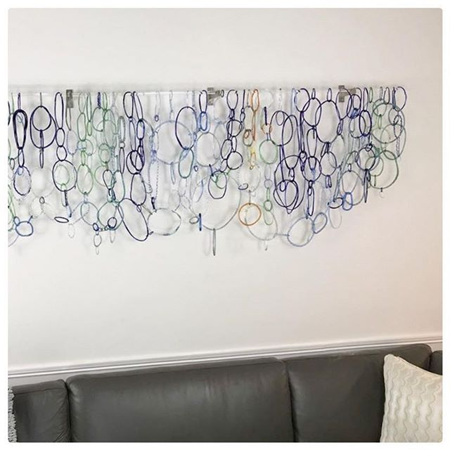 "@licata22, glass artist, uses our 3/4""  Mira brackets to hang a recent commission. #chainmaille #glassartist #curtainhardware"