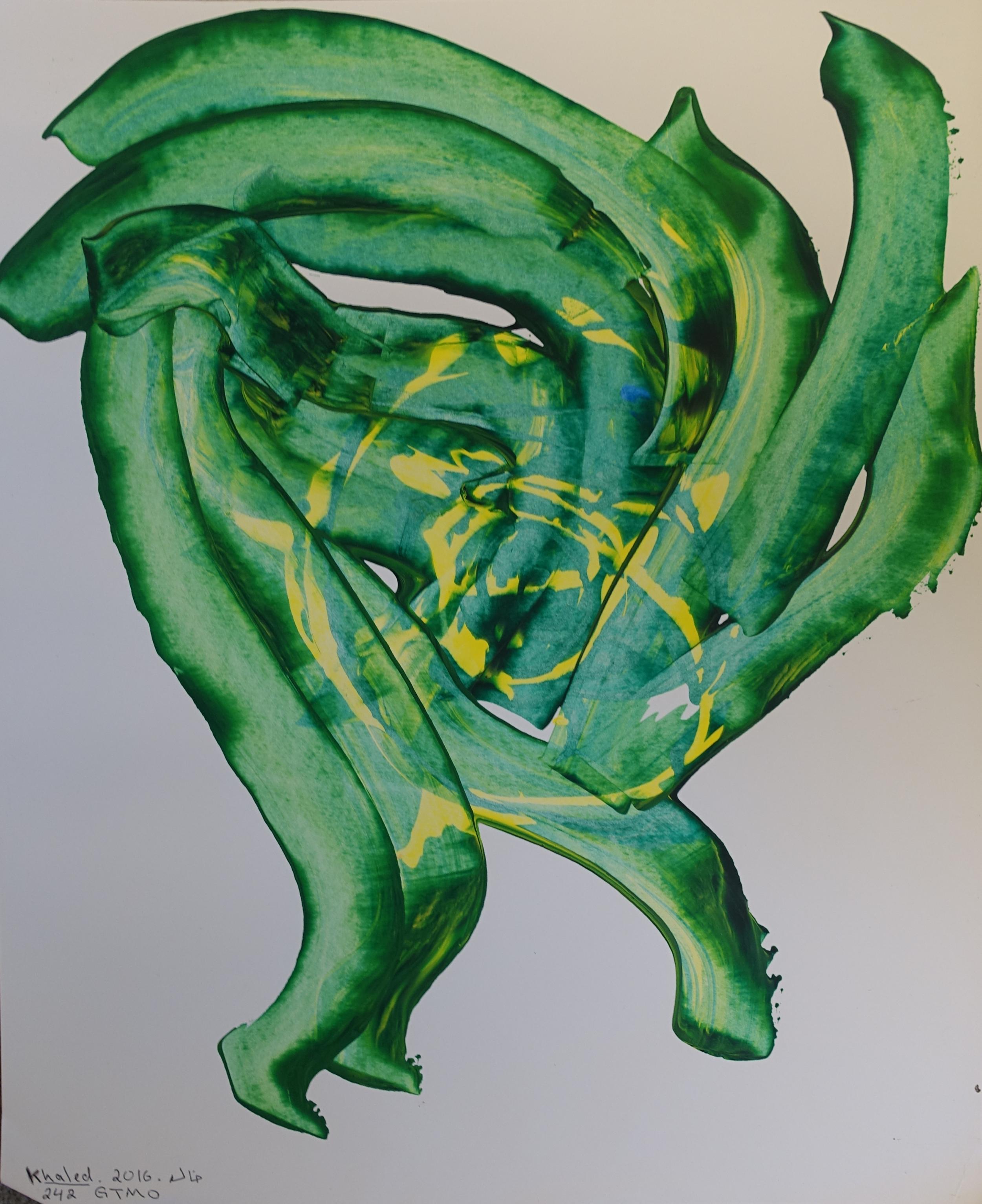 Khalid Qasim, Green Brush Strokes, 2016.