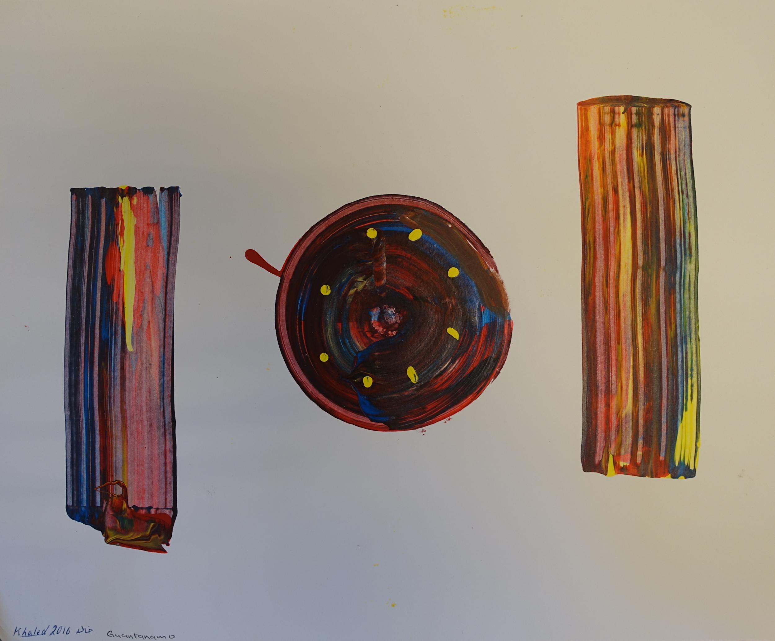Khalid Qasim, Rectangles and Circle, 2016.