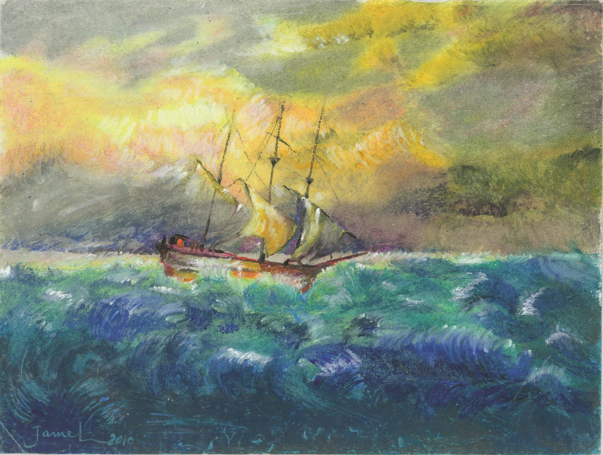 Djamel Ameziane, Ship Sailing in a Stormy Sea, 2010.