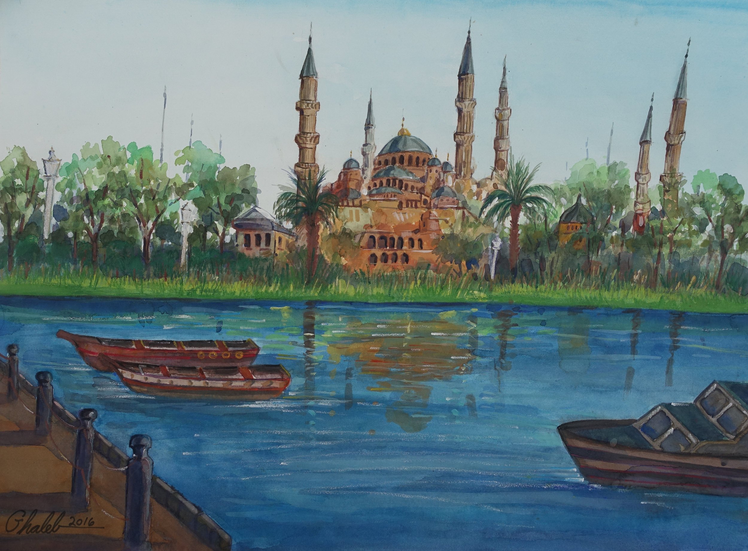 Ghaleb Al-Bihani, Blue Mosque Reflected in a River (made after a terror attack in Istanbul near the Blue Mosque), 2016.