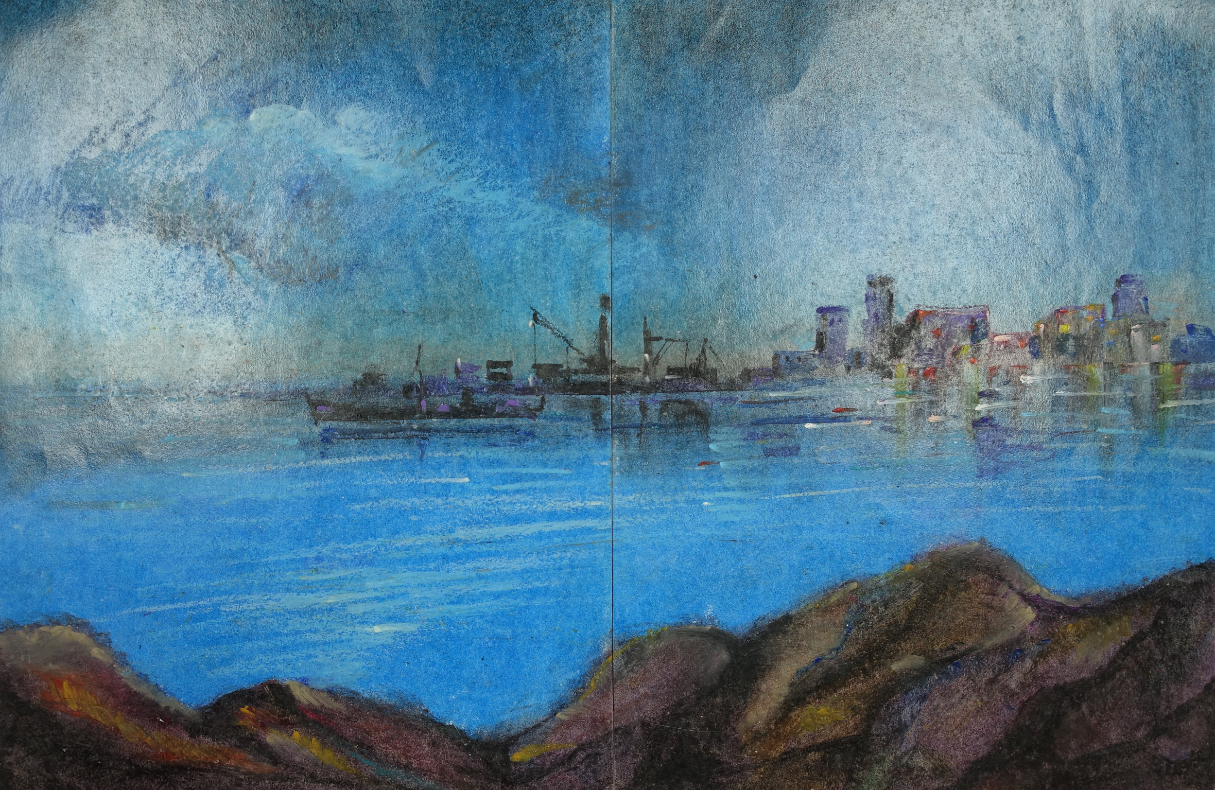 Ghaleb Al-Bihani, Large Ship against a Skyline, 2015.
