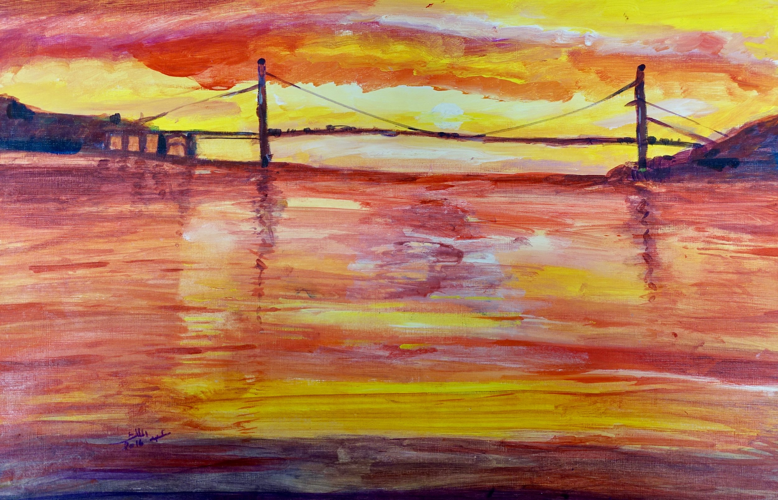 Abdualmalik Abud, Sunset with Bridge, 2016.