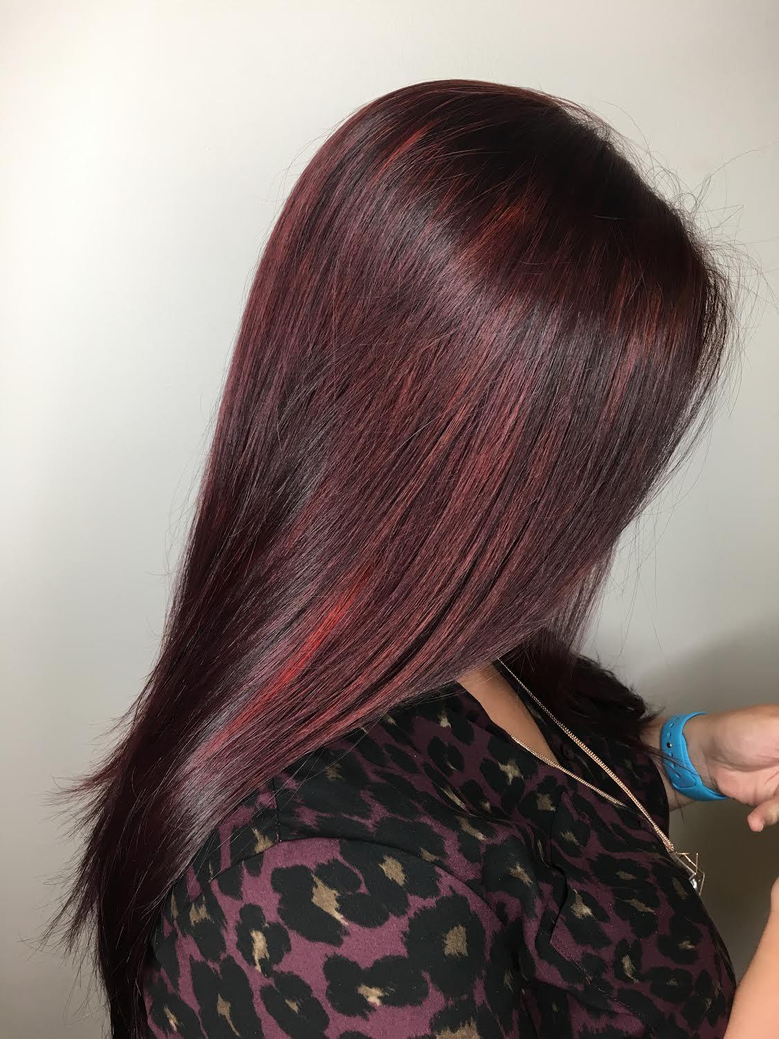 Kristina Fierro Coppell Hairstylist Vivid Red Hightlights