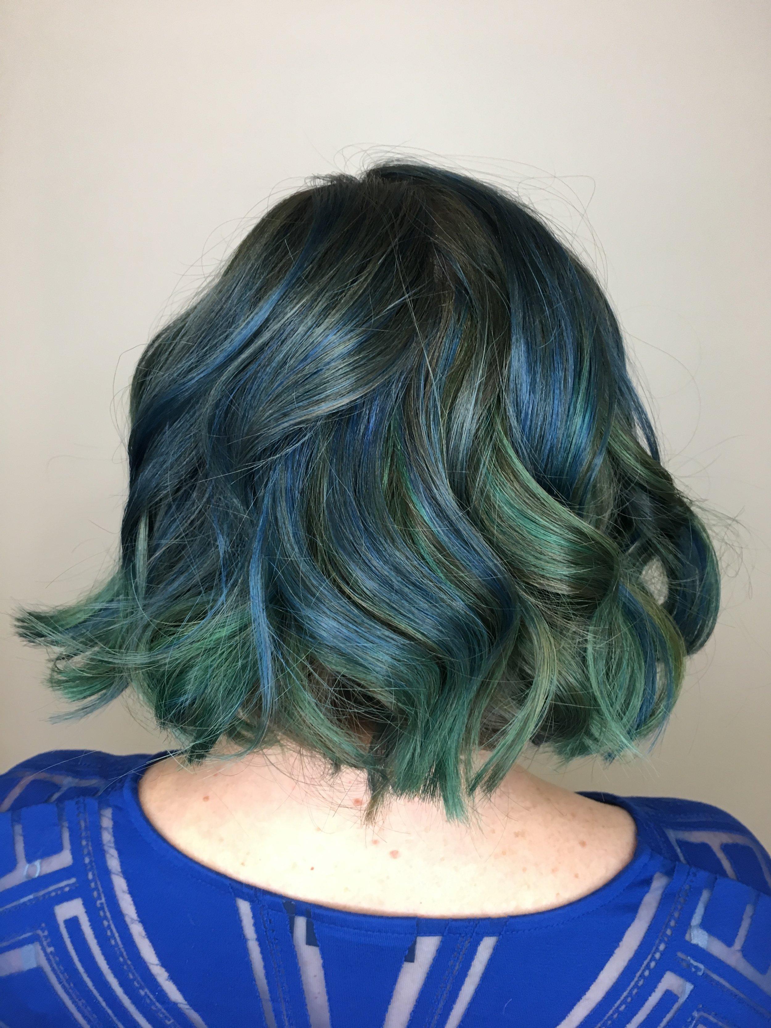 Kristina Fierro Coppell Hairstylist Blue Green Fashion Vivid