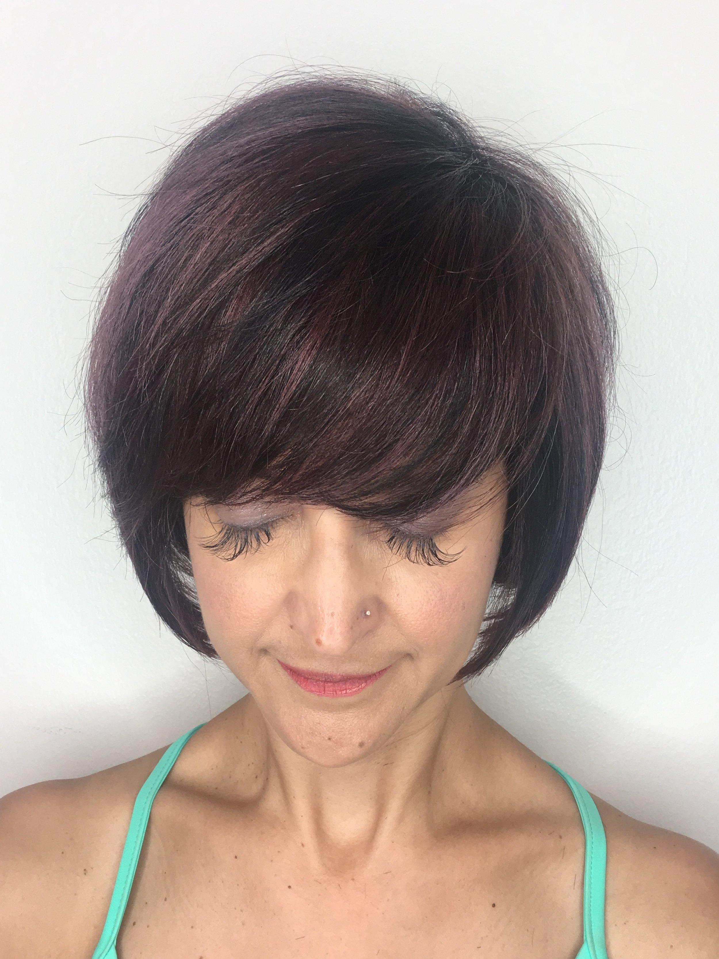 Christina Childress Highland Village Hairstylist Brunette Bob Bangs