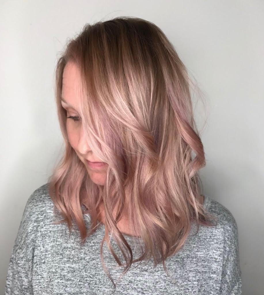 Kari Wawrzonek Frisco Hairstylist Rose Gold Hair Color