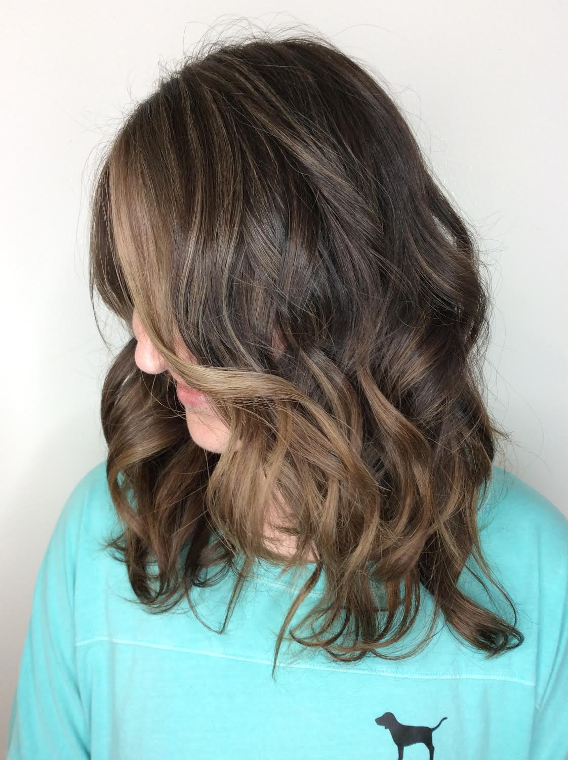 Kari Wawrzonek Frisco Hairstylist Brunette Money Piece