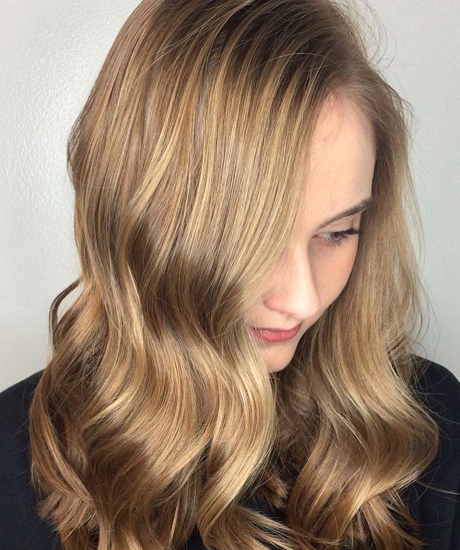 Honey Blonde Hair Color by Kari at Tangerine Salon Frisco