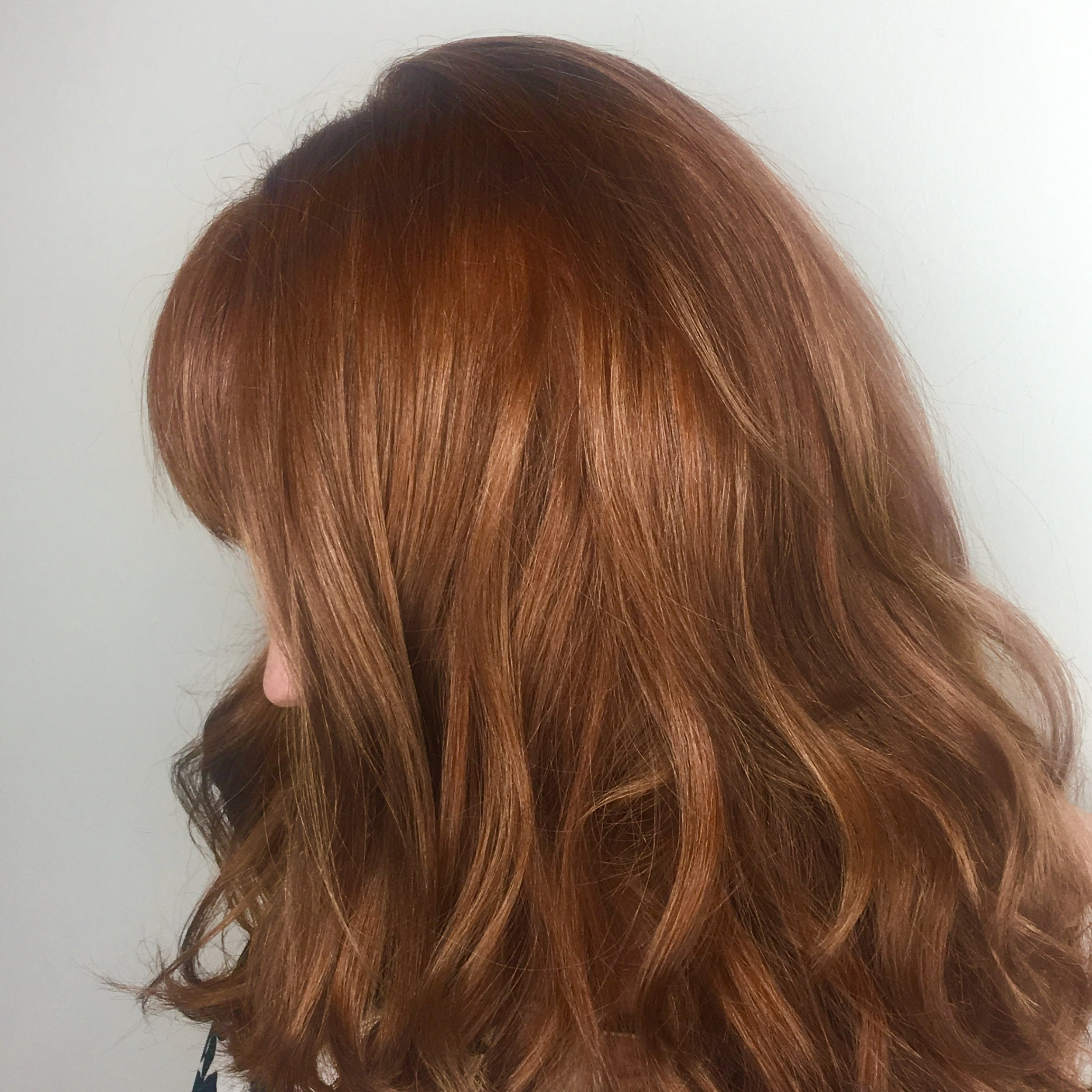 Christina Childress Highland Village Hairstylist Red Hair Color Curls