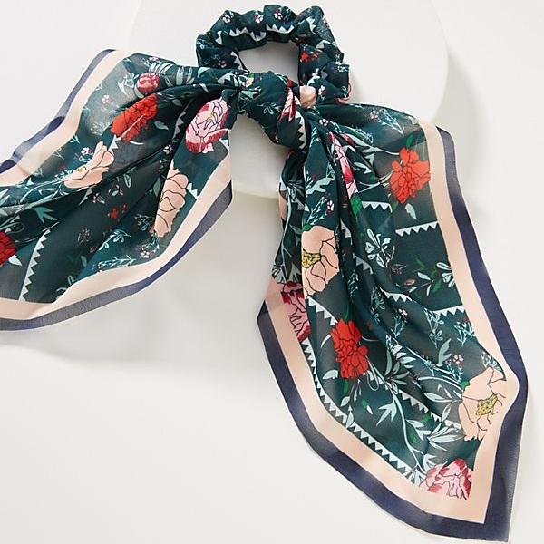 Lynn Floral Scarf Ponytail Holder - Anthropologie | $10