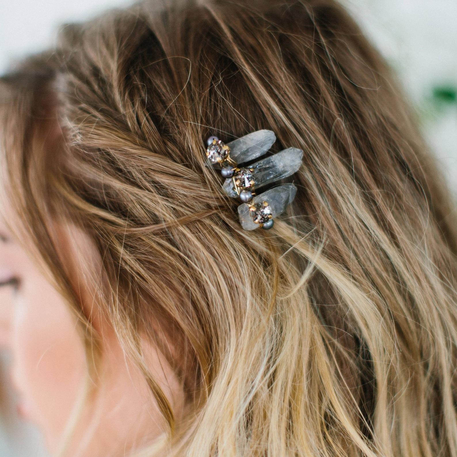 SIERRA smokey quartz Hair Comb - Etsy | $98
