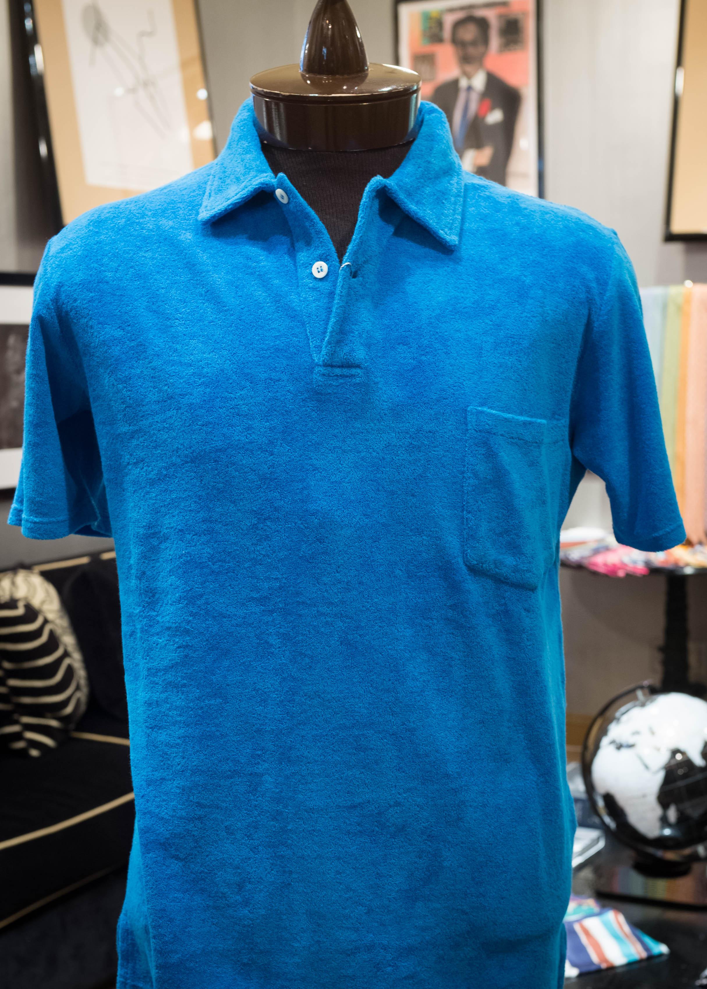 Riviera blue short-sleeve terrycloth polo