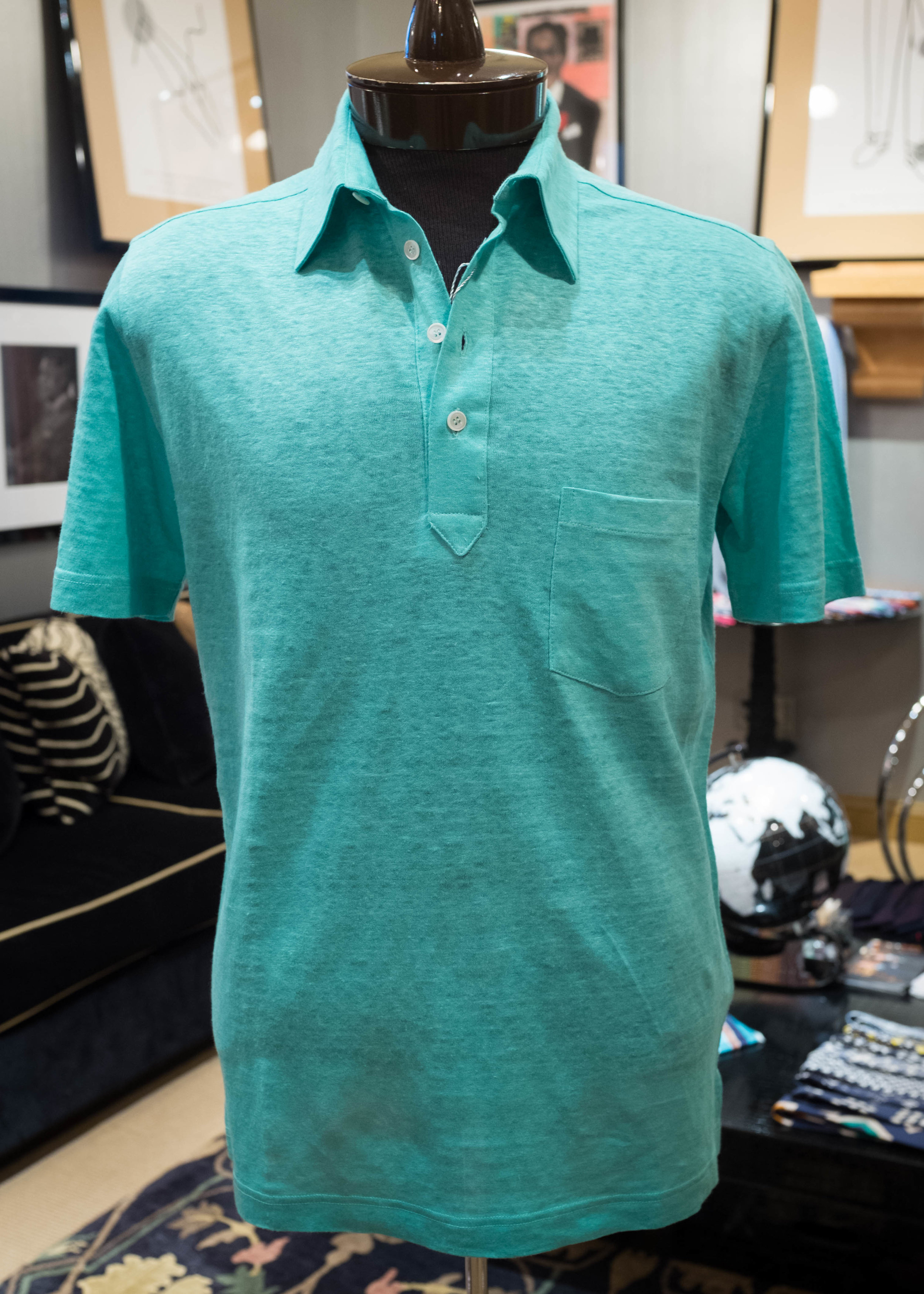 Mint green knitted linen with an extended front placket.