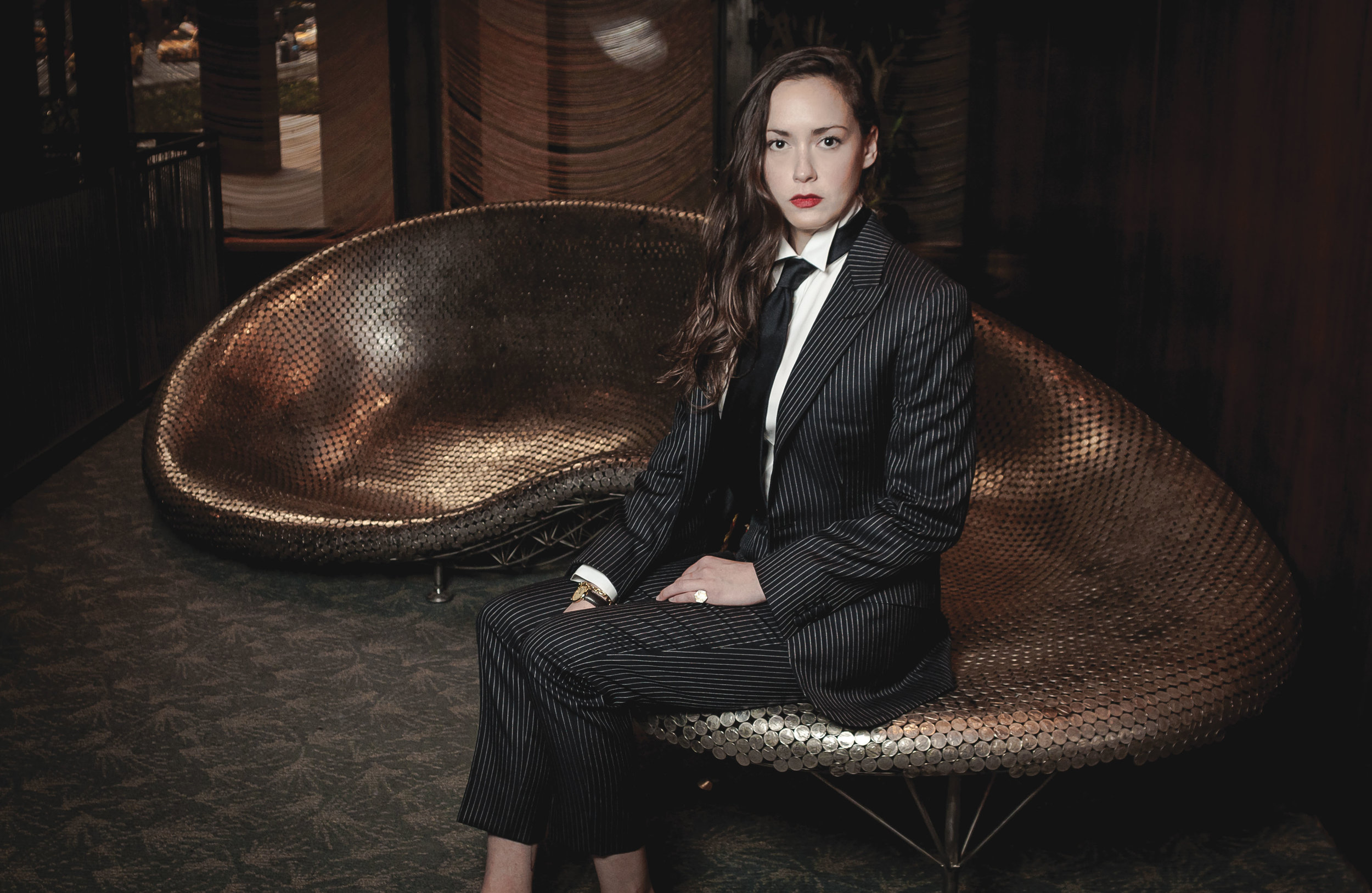 The Hepburn business/dinner suit from the Fusser Femme collection of Alan Flusser.