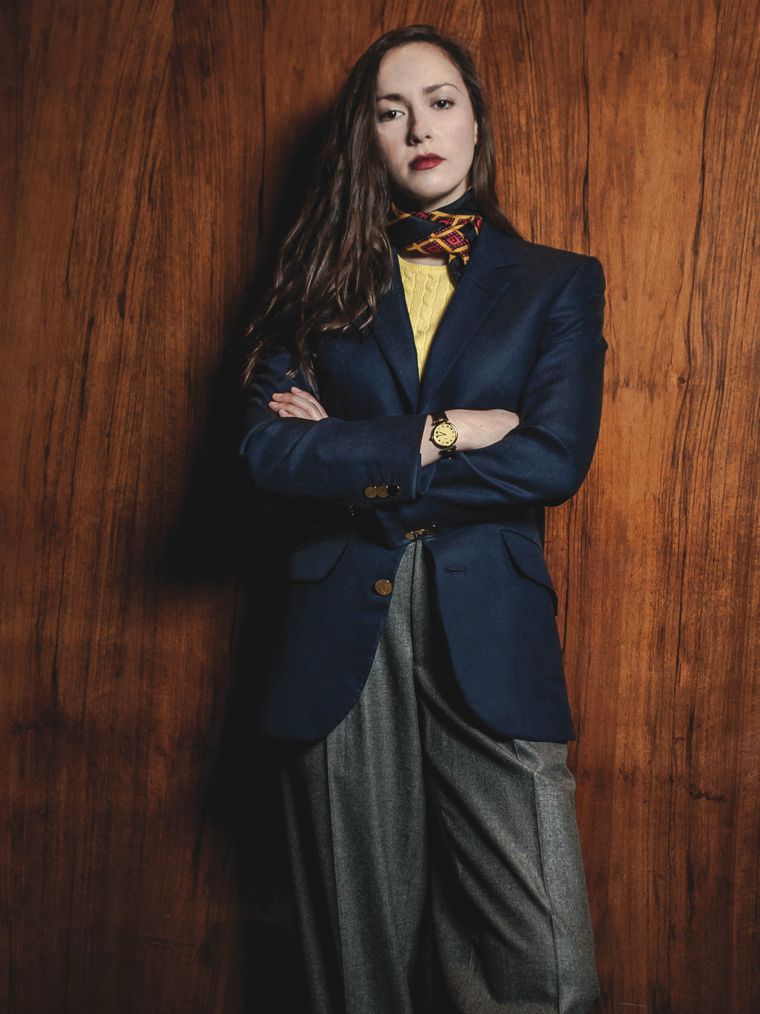 Navy blazer and grey flannels: a classic look for women in touch with their inner Astaire.