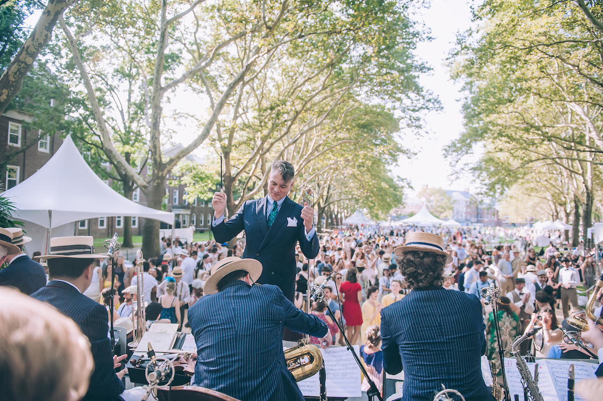 Jazz Age Lawn Party founder Michael Arenella leading his band.