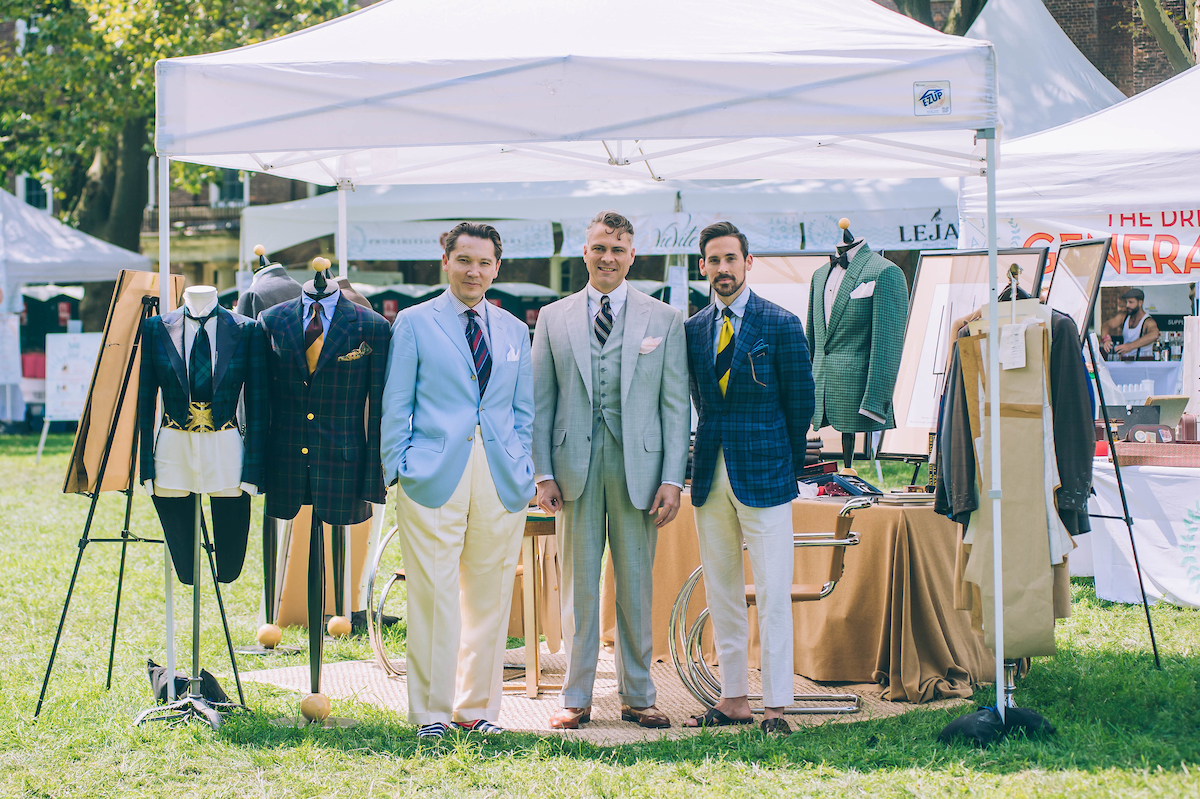Andrew, Michael, and Jonathan at the Alan Flusser Custom tent.
