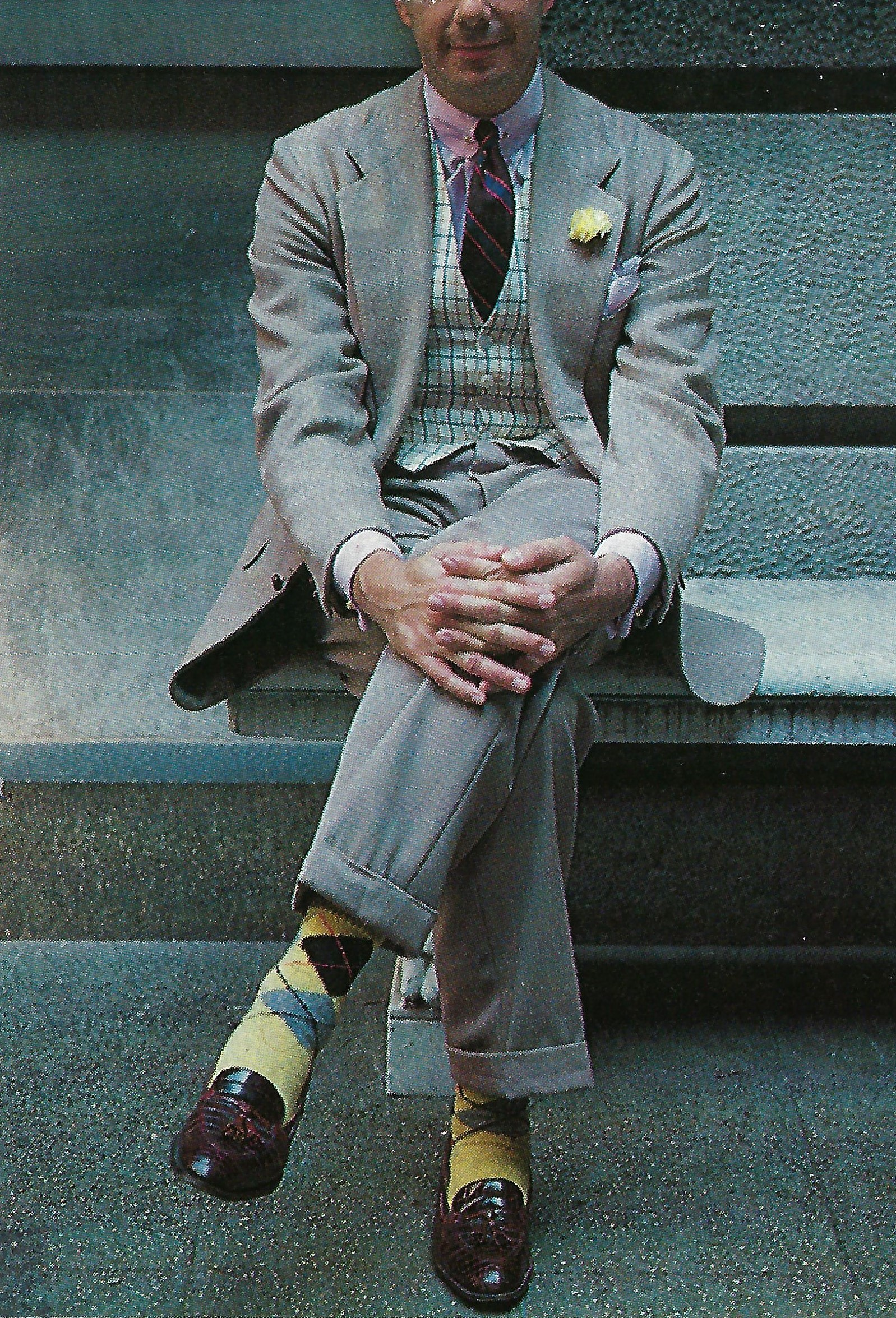 Rus in urbe:  pinned club collar, repp tie, cream wool tattersall waistcoat, fawn garbardine suit, hand-framed argyle socks, and crocodile loafers.