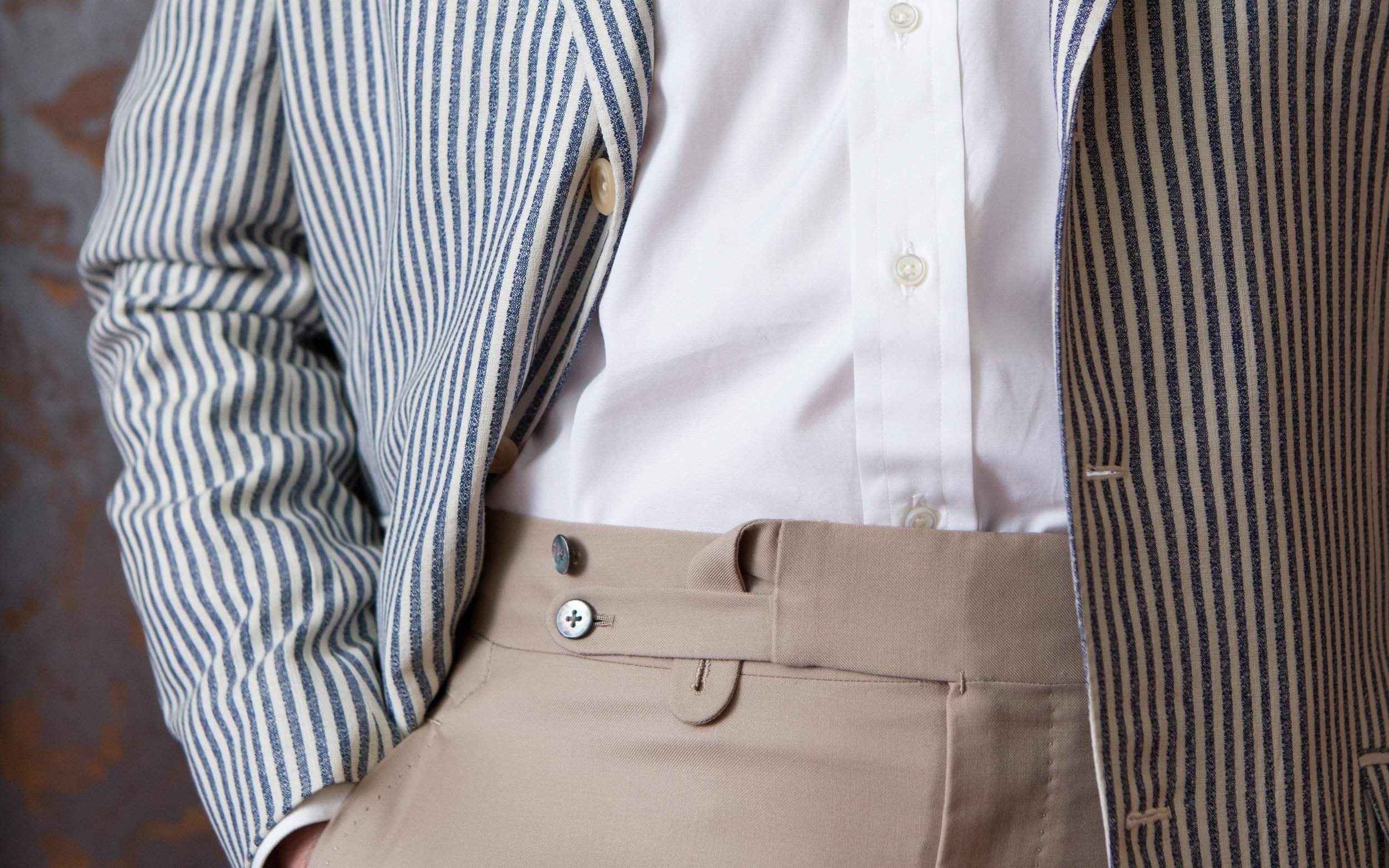 Our double extension tab waistband, resurrected for custom commissions this year from the Flusser archives.