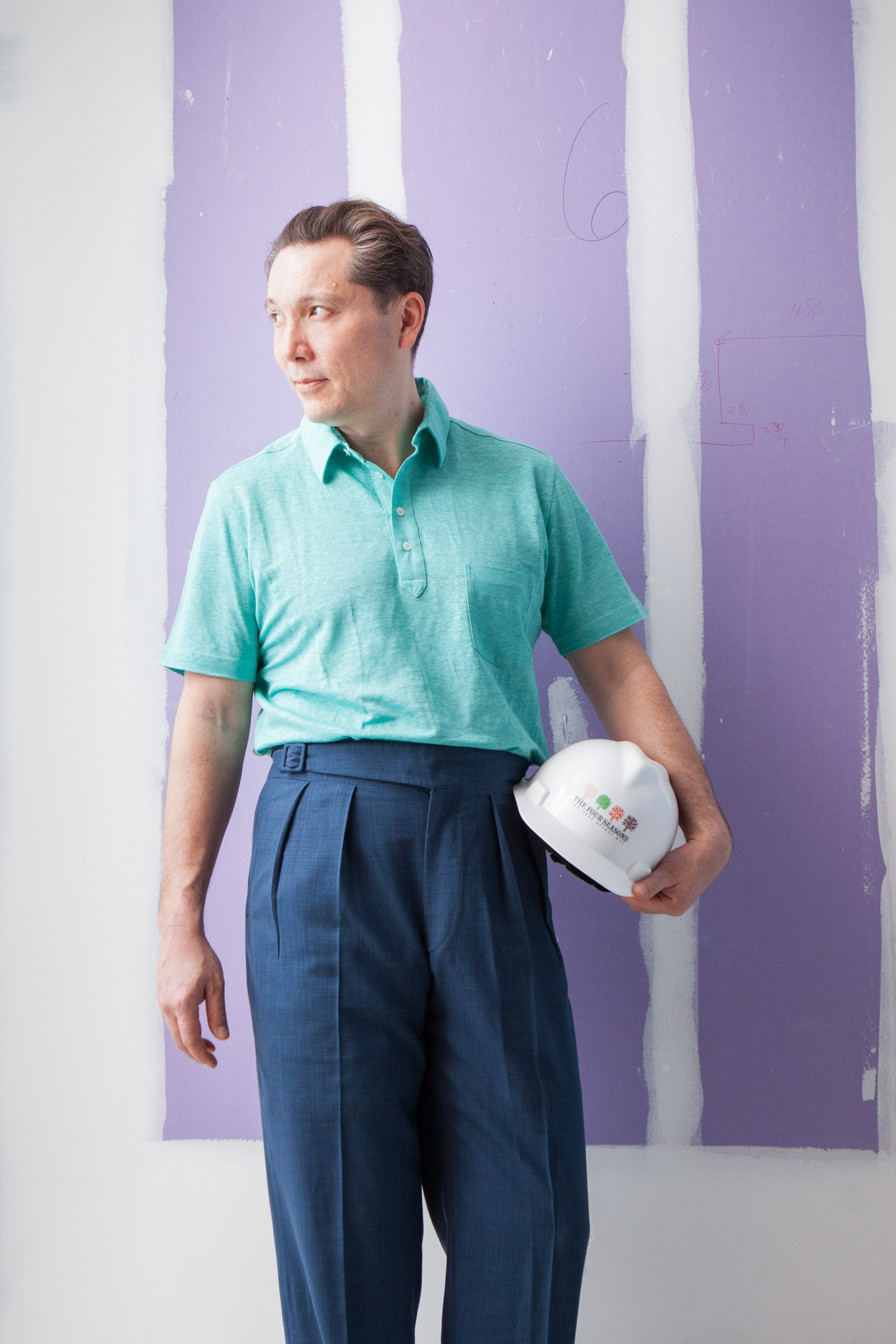 Conjuring the water-colored days of Sinatra's Palm Springs – when dressing down was still expected to stir and captivate. 10z wool/silk/linen blend trousers with knitted linen polo.