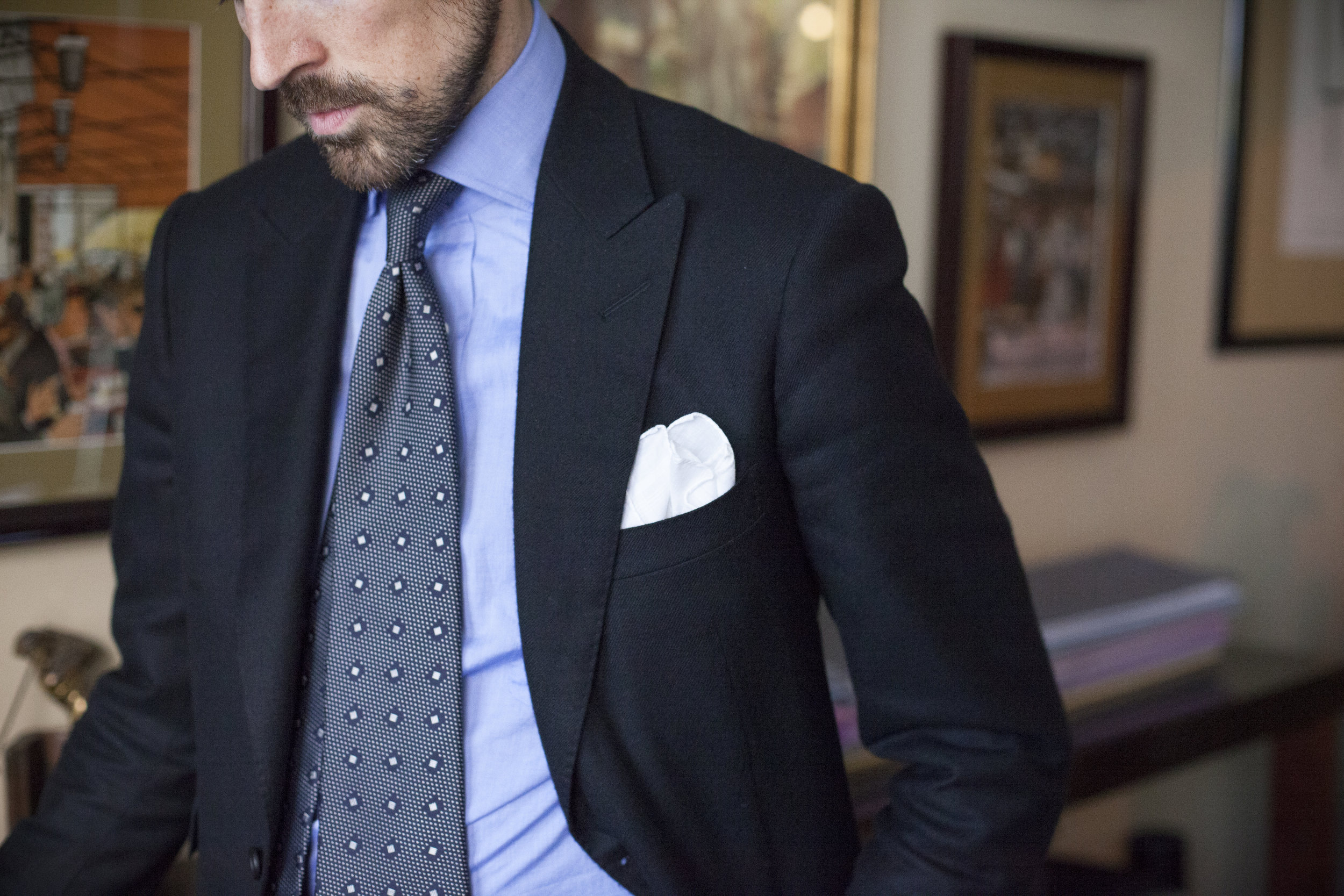 Jonathan's subtle woven silk tie sharpens up a soft cashmere jacket into a highly business-appropriate look.