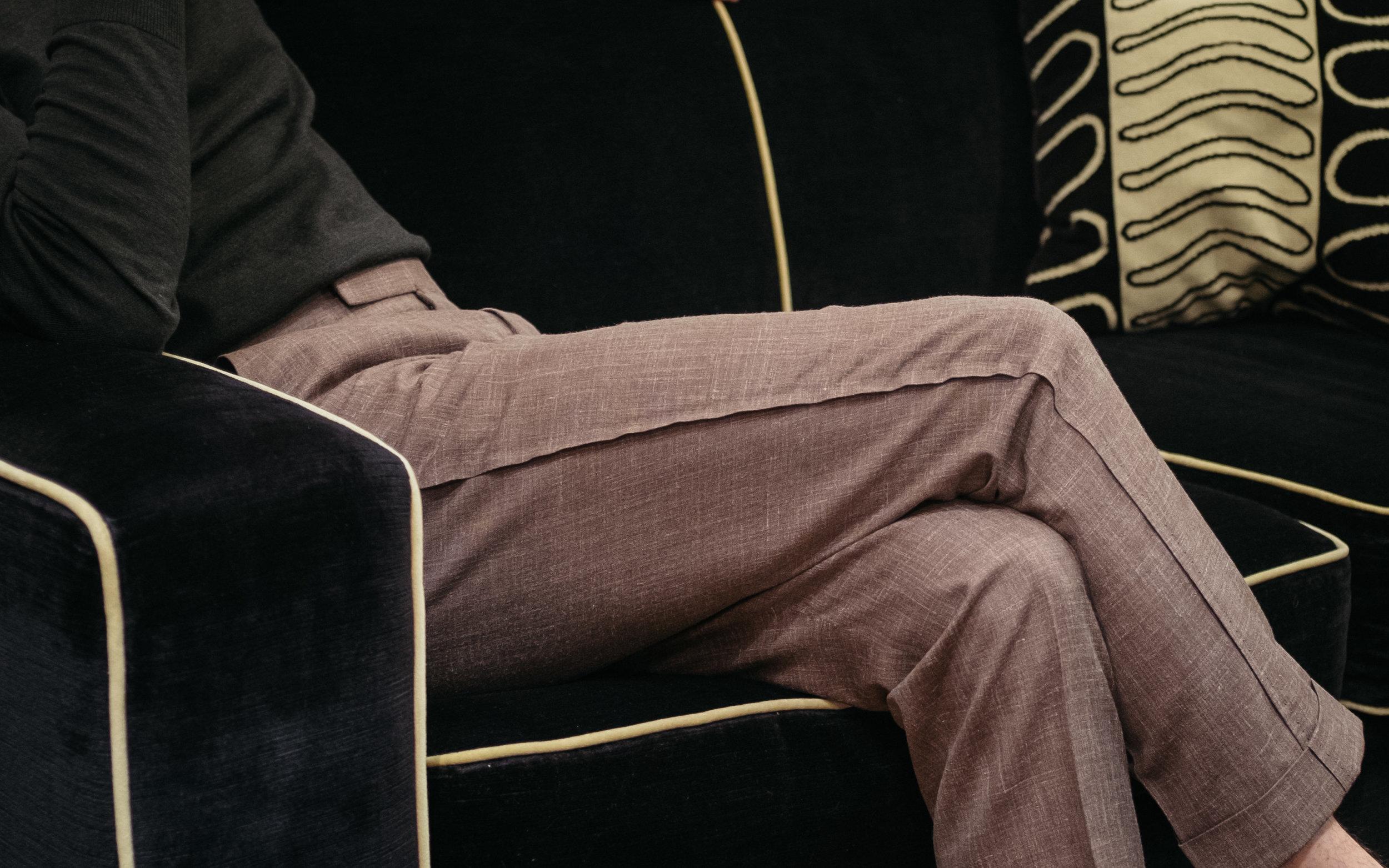 A summer weight light brown wool, silk, and linen blend odd trouser.