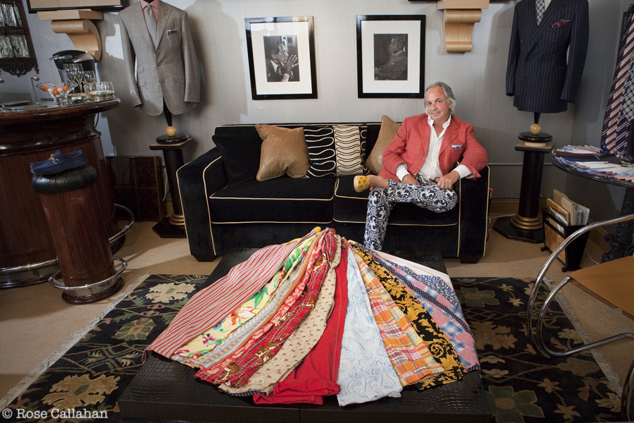 """Alan displays his formidable collection of """"go-to-hell"""" trousers. Photo: Rose Callahan"""