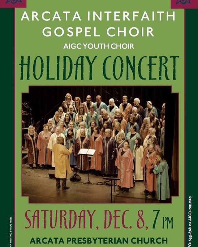 """We will sing hallelujah!"" Come join us as we perform joyous songs that go to the heart of the holiday season at our Holiday Concert! It takes place on Saturday, December 8, at 7 p.m. at the Arcata Presbyterian Church. The AIGC Youth Choir will open the show. Follow link in bio for more details.  #singhallelujah #heartoftheholidays #joyfulnoise  #arcata #interfaith #gospelchoir #gospelconcert #holidayconcert #humboldt"