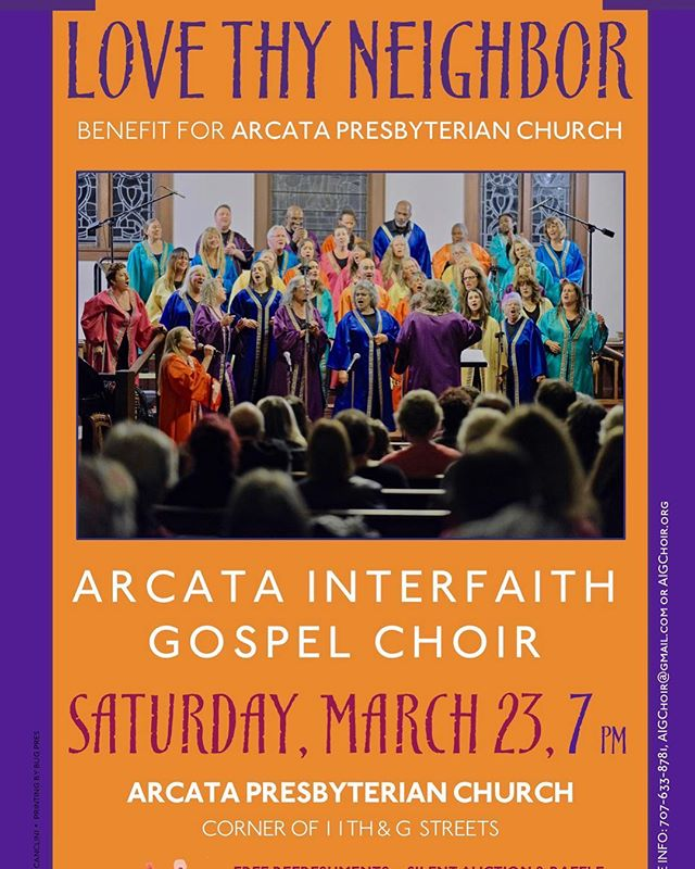 Love Thy Neighbor concert this Saturday, 7 p.m. at the Arcata Presbyterian Church! This benefit show will help the church renovate the exterior after the 2017 arson fire.  #singout #arcata #interfaith #gospel #choir #lovethyneighbor #concert #humboldt #music #benefit #presbyterian #church
