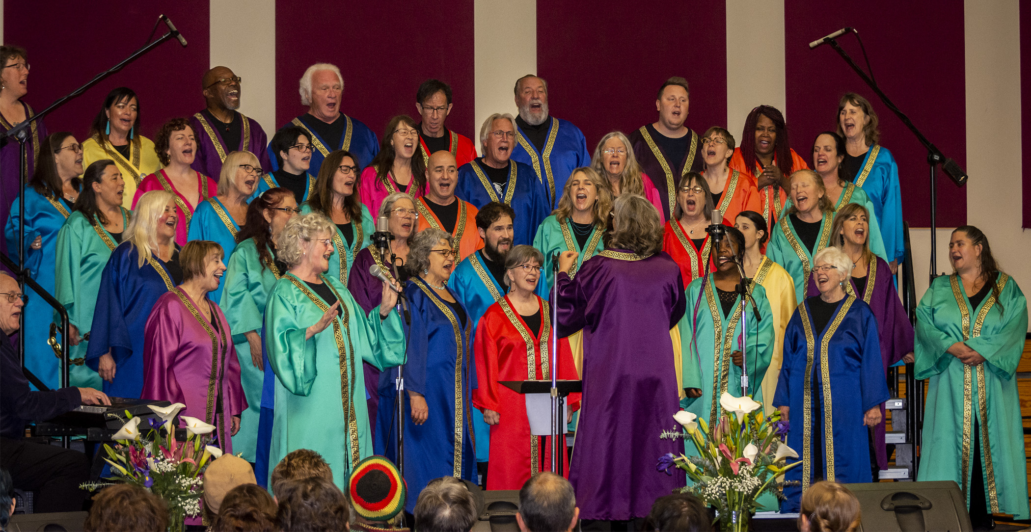 KRISTIN KIRBY DIRECTS THE CHOIR AT THE MAY 19, 2019 PRAYER BREAKFAST AT THE ARCATA COMMUNITY CENTER, OUR FINAL SHOW OF THE SEASON. (PHOTO: MARK LARSON)