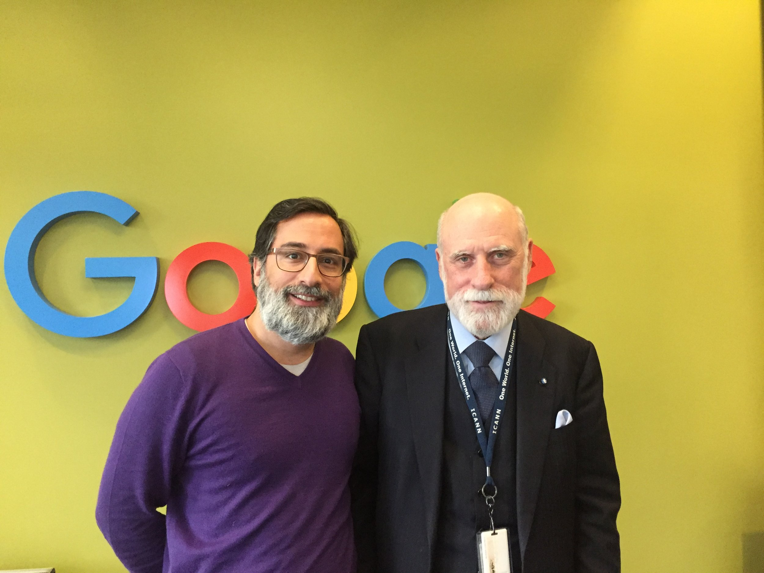 "Alex with Vint Cerf, the ""father of the internet"", at Google in Mountain View, February 2017."