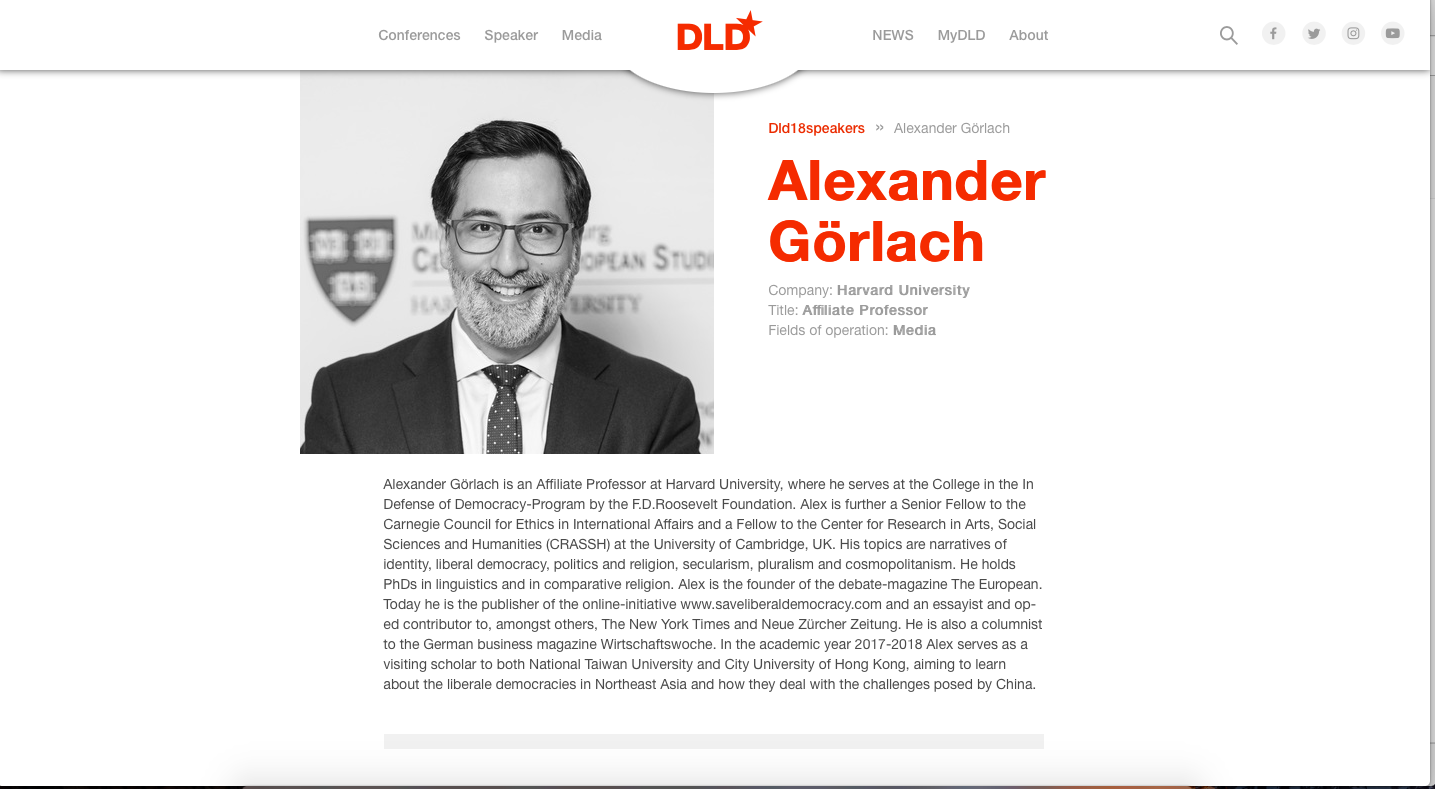 Alex on the DLD website