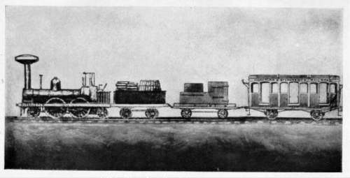 This image of Canada's first railway engine from the Champlain and St. Lawrence Railroad appeared in the book 'The Railway Builders, A Chronicle of Overland Highways' published in 1920. The original print is from the Château de Ramezay, a museum and historic building in Montreal.