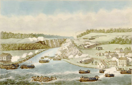 [The battle of Queenston Heights as depicted in a print showing the village of Queenston at the right and Lewiston on the left. Print courtesy of Library and Archives Canada]