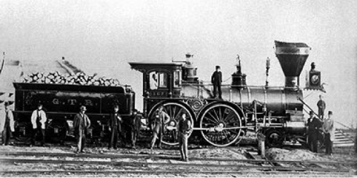 [A print circa 1860 of Locomotive No. 162 from the Grand Trunk Railway, courtesy The Canadian Encyclopedia]