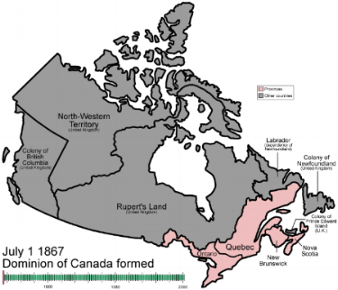Canada as it was in 1867 when the British North American colonies of New Brunswick, Nova Scotia and the Province of Canada united.