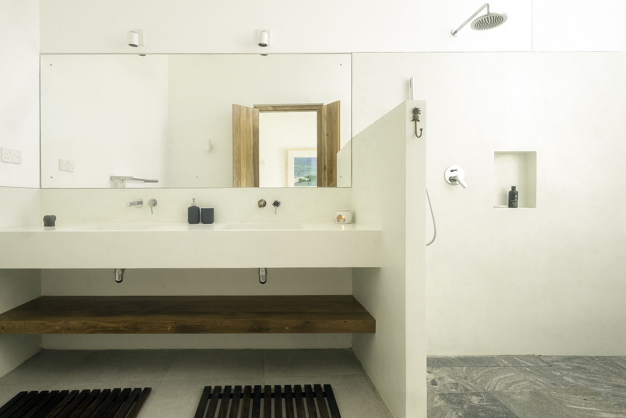 Bedroom 2 ensuite with double basin and rain shower
