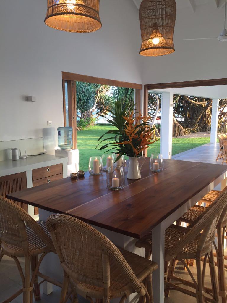 The kitchen island bench at Tea Tree
