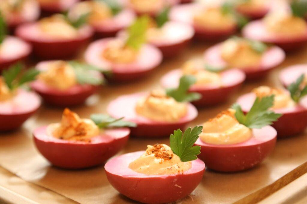 Deviled beet eggs