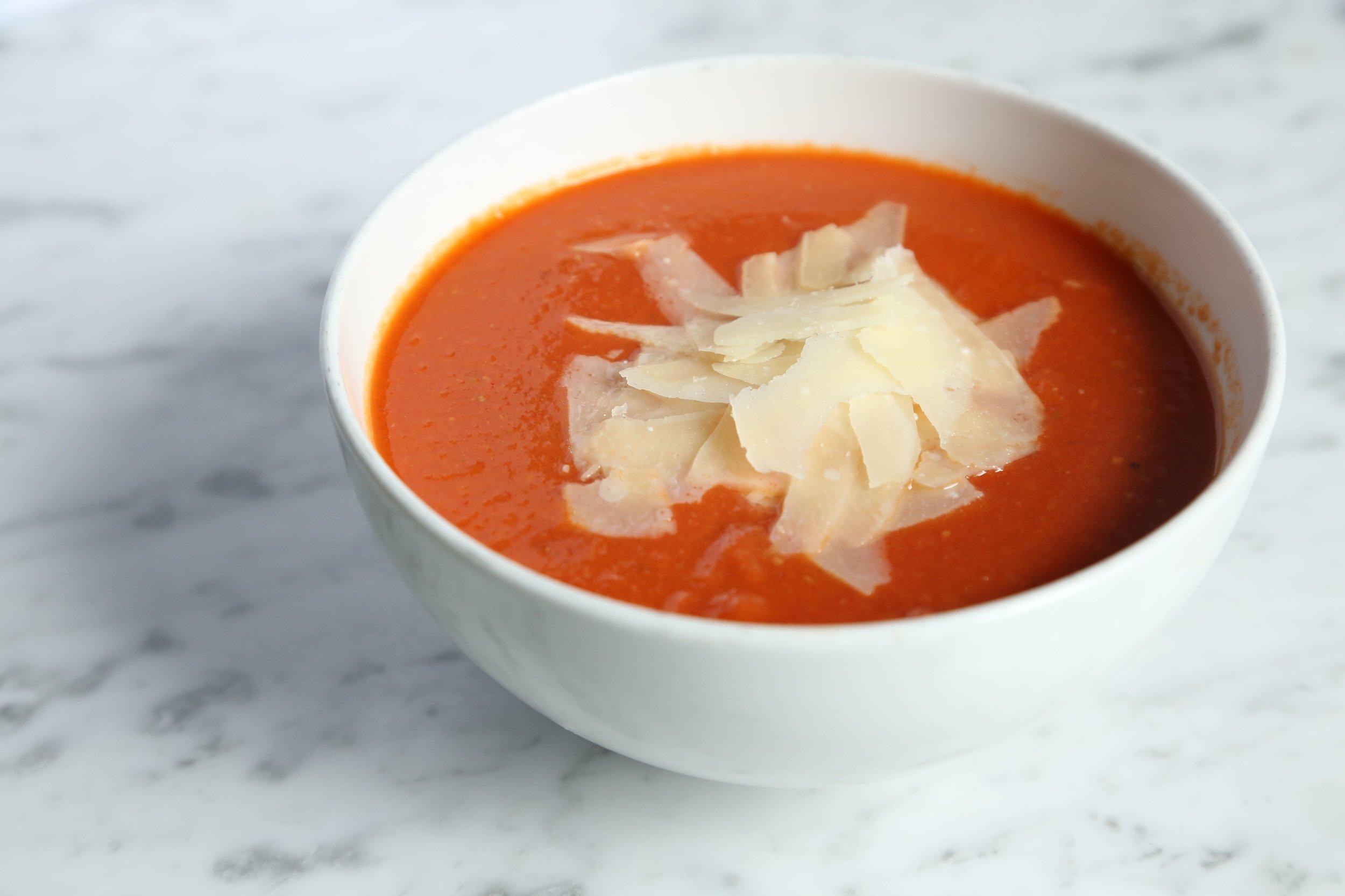 Tomato parmesan reggiano soup