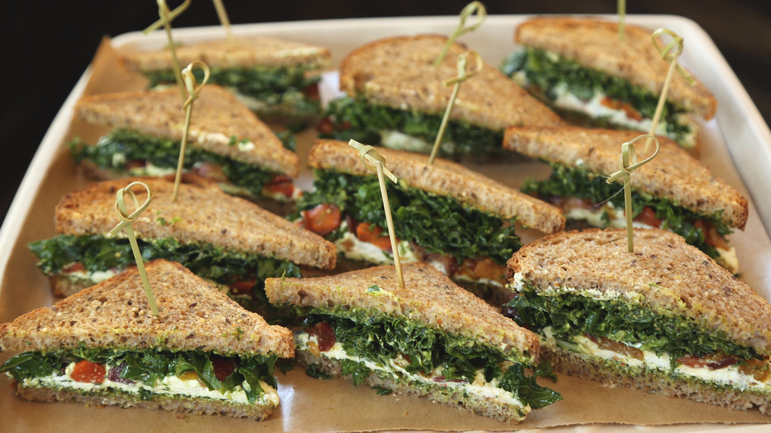 Ricotta and pesto sandwich platter