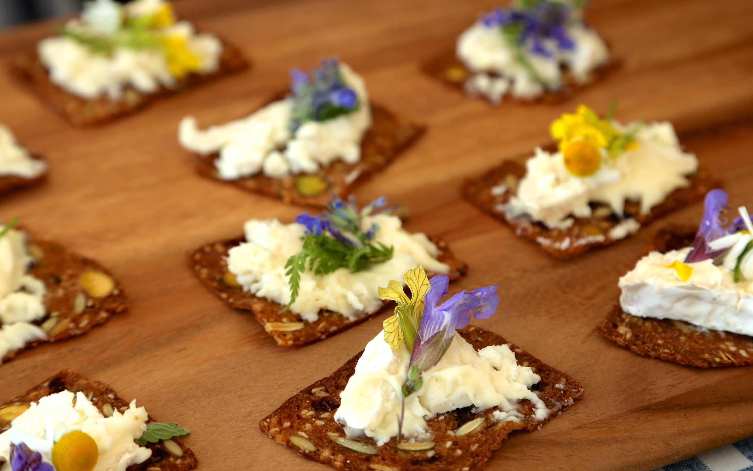 Whipped ricotta with edible flower on crisps