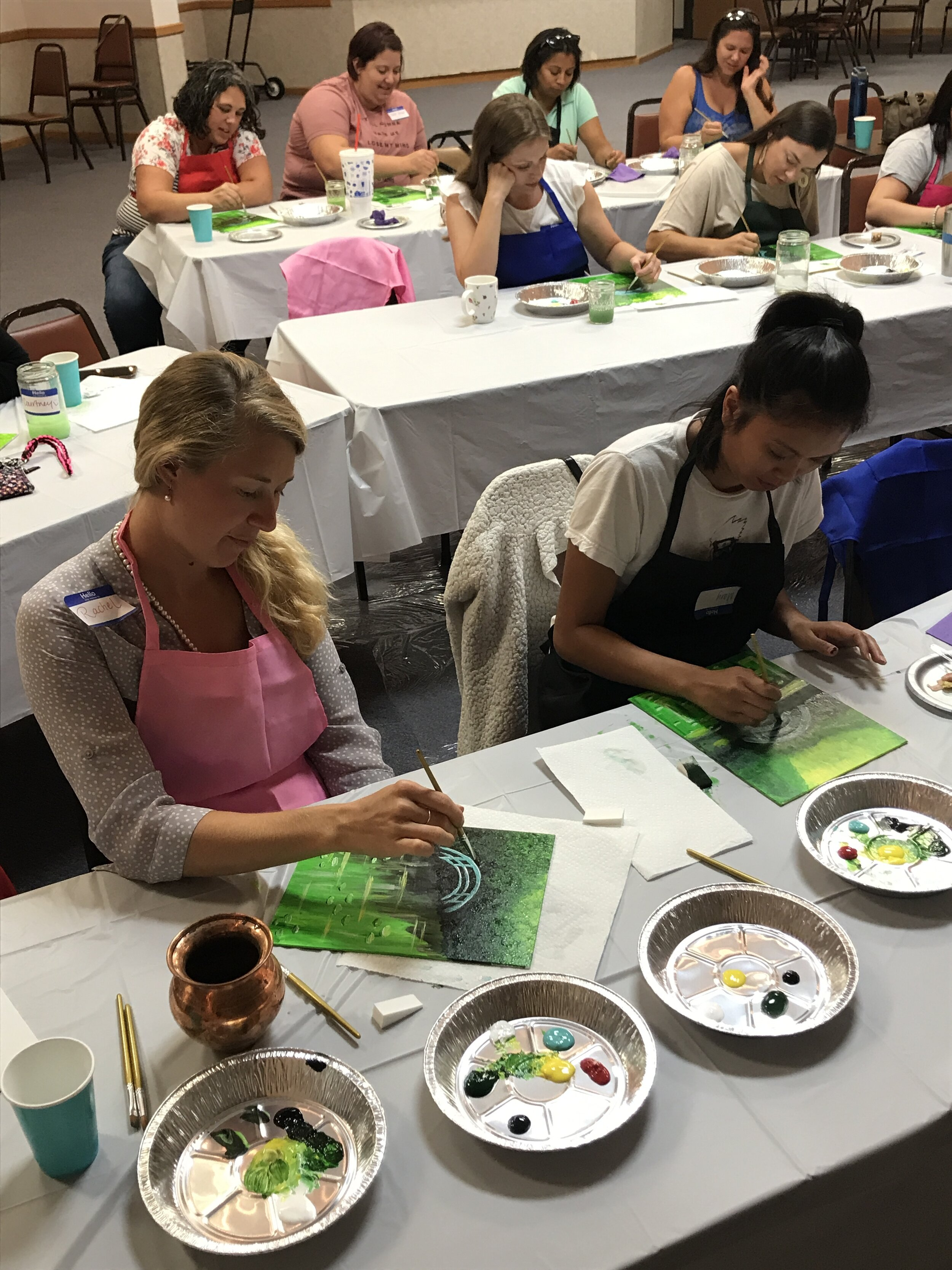 """Group Painting Parties - Discover your inner artist as you socialize with others you meet at the painting parties and create a lovely canvas that is """"wall-worthy."""" Even if you have never painted in your life come join the fun! You will be given all the supplies you need, excellent step-by-step instruction, a cold or hot drink of your choice and a relaxing environment to let your creativity flow!"""