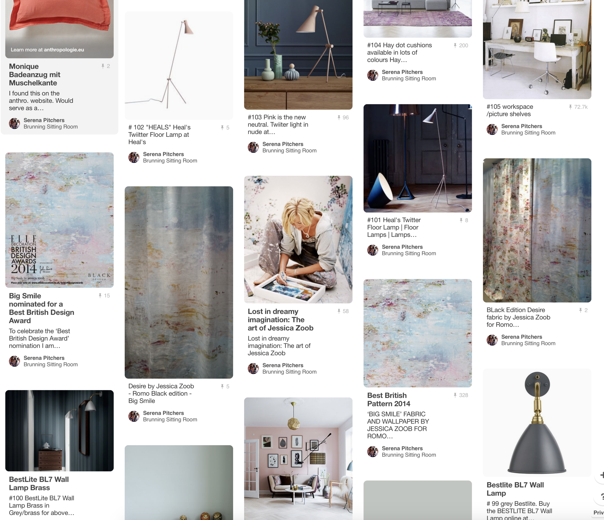 Her very own Pinterest board.